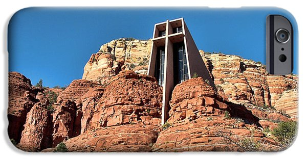 Cathedral Rock iPhone Cases - Chapel of the Holy Cross iPhone Case by Judy Vincent