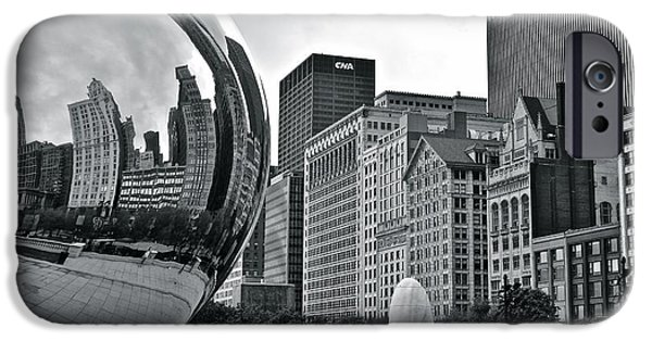 Chicago Cubs iPhone Cases - Charcoal Cloud Gate iPhone Case by Frozen in Time Fine Art Photography