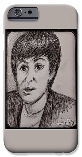 Portraits iPhone Cases - Charcoal Portrait of Paul McCartney iPhone Case by Joan-Violet Stretch