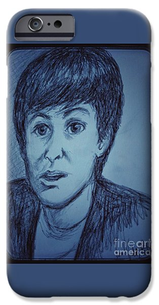 Mccartney Drawings iPhone Cases - Charcoal Sketch of Paul McCartney in Blue iPhone Case by Joan-Violet Stretch