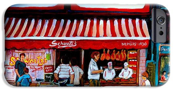Delicatessans iPhone Cases - Charcuterie Schwartzs Deli Montreal iPhone Case by Carole Spandau