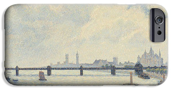 Boats In Water Paintings iPhone Cases - Charing Cross Bridge - London iPhone Case by Camille Pissarro