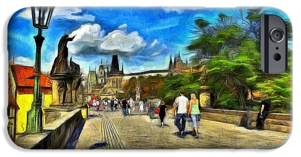 Old Digital Art iPhone Cases - Charles Bridge iPhone Case by Jean-Marc Lacombe