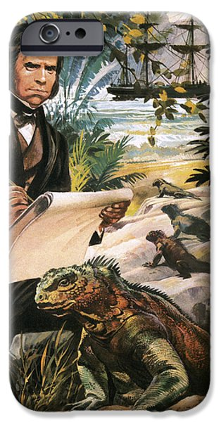 Nature Study Drawings iPhone Cases - Charles Darwin on the Galapagos Islands iPhone Case by Andrew Howat