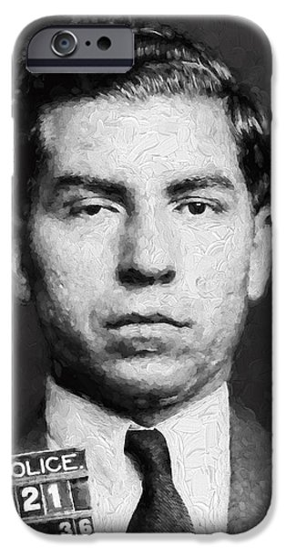 Law Enforcement iPhone Cases - Charles Lucky Luciano  Mugshot Painterly iPhone Case by Daniel Hagerman
