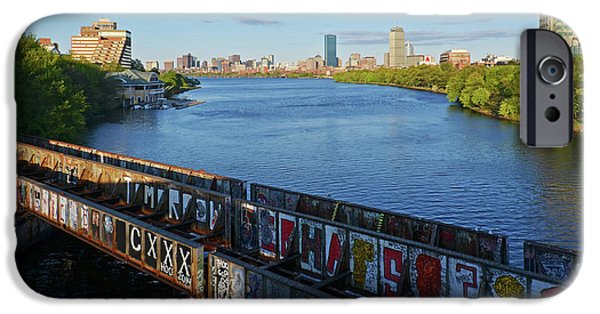 Boston Ma iPhone Cases - Charles River Graffiti iPhone Case by Toby McGuire