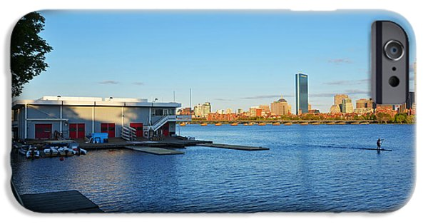 Boston Ma iPhone Cases - Charles River Paddle Boarder iPhone Case by Toby McGuire
