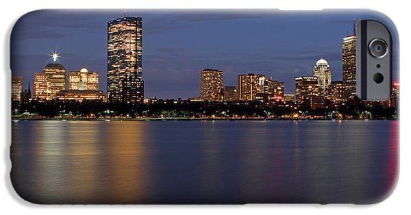 City. Boston iPhone Cases - Charles River Skyline iPhone Case by Juergen Roth