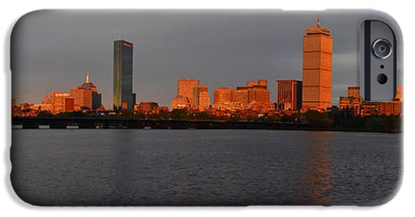 Charles Bridge Digital iPhone Cases - Charles River Sunset Panorama Boston MA iPhone Case by Toby McGuire