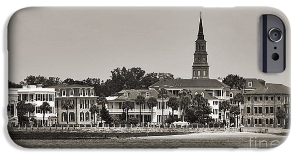 Historic Home iPhone Cases - Charleston Battery South Carolina Sepia iPhone Case by Dustin K Ryan