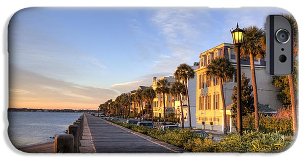 Battery iPhone Cases - Charleston East Battery Row Sunrise iPhone Case by Dustin K Ryan