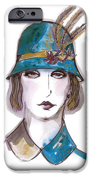 Mixed Media Drawings iPhone Cases - Charleston Girl Watercolor iPhone Case by Marian Voicu