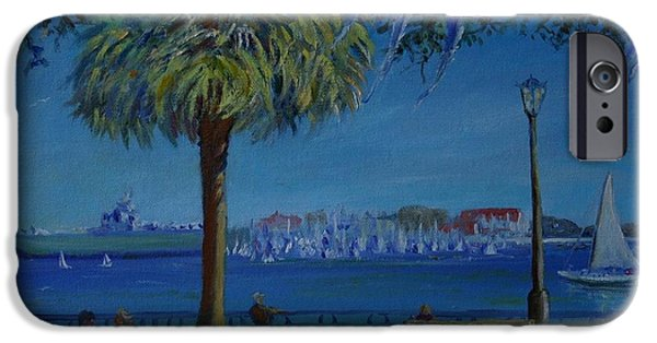 Yorktown iPhone Cases - Charleston Harbor Sunday Regatta iPhone Case by Dorothy Allston Rogers