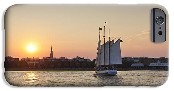 Sailboat iPhone Cases - Charleston Harbor Sunset Schooner iPhone Case by Dustin K Ryan