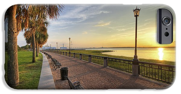 Palm Tree iPhone Cases - Charleston SC waterfront park sunrise  iPhone Case by Dustin K Ryan