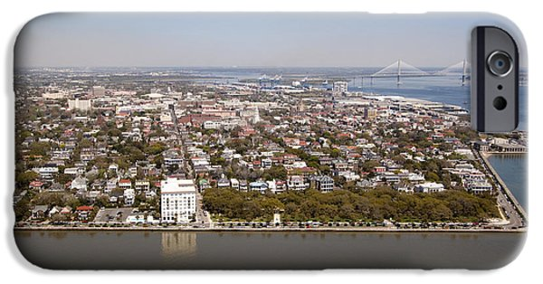 Battery iPhone Cases - Charleston South Carolina Battery Waterfront Aerial iPhone Case by Dustin K Ryan