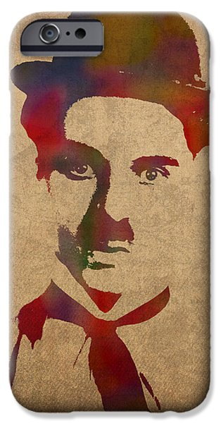 Chaplin iPhone Cases - Charlie Chaplin Watercolor Portrait Silent Movie Vintage Actor on Worn Distressed Canvas iPhone Case by Design Turnpike
