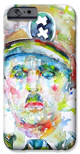 Chaplin iPhone Cases - CHARLIE CHAPLIN - watercolor portrait.6 iPhone Case by Fabrizio Cassetta
