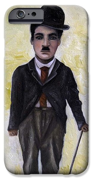 Charlie Chaplin iPhone Cases - Charlie iPhone Case by Leah Saulnier The Painting Maniac