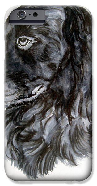Dog Close-up Paintings iPhone Cases - Charlie iPhone Case by Lil Taylor