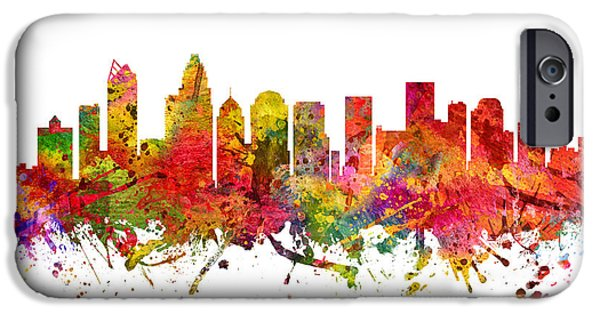 Charlotte Drawings iPhone Cases - Charlotte Cityscape 08 iPhone Case by Aged Pixel