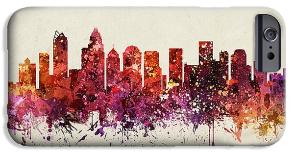 Charlotte iPhone Cases - Charlotte Cityscape 09 iPhone Case by Aged Pixel