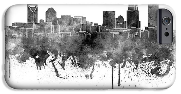Charlotte Paintings iPhone Cases - Charlotte skyline in black watercolor on white background iPhone Case by Pablo Romero