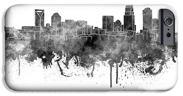 Charlotte iPhone Cases - Charlotte skyline in black watercolor on white background iPhone Case by Pablo Romero