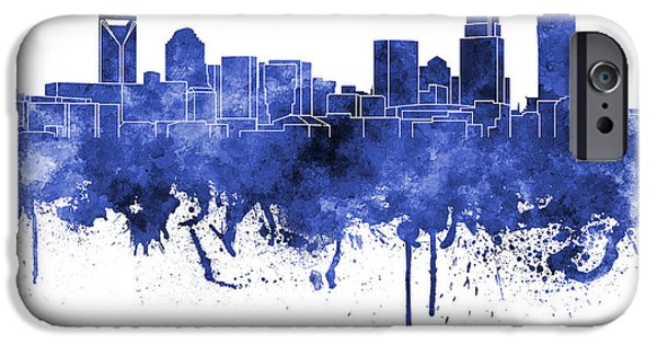 Charlotte Paintings iPhone Cases - Charlotte skyline in blue watercolor on white background iPhone Case by Pablo Romero