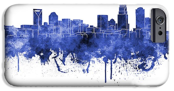 Charlotte iPhone Cases - Charlotte skyline in blue watercolor on white background iPhone Case by Pablo Romero