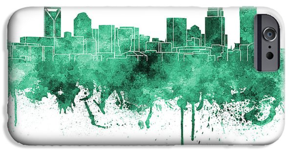 Charlotte Paintings iPhone Cases - Charlotte skyline in green watercolor on white background iPhone Case by Pablo Romero