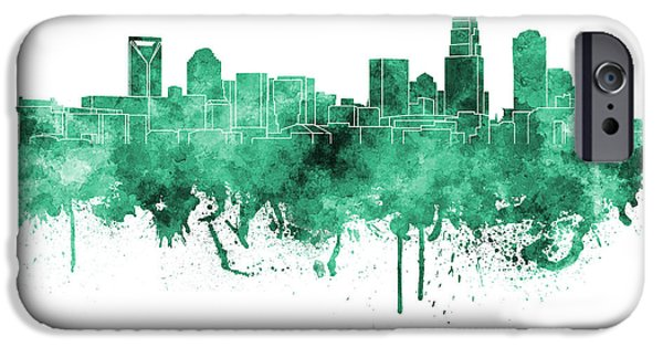 Charlotte iPhone Cases - Charlotte skyline in green watercolor on white background iPhone Case by Pablo Romero