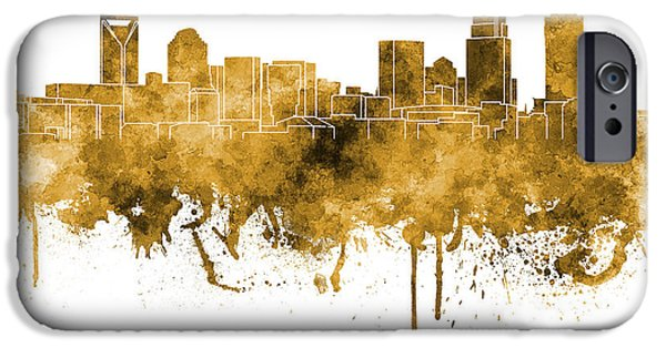 Charlotte Paintings iPhone Cases - Charlotte skyline in orange watercolor on white background iPhone Case by Pablo Romero