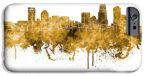 Charlotte iPhone Cases - Charlotte skyline in orange watercolor on white background iPhone Case by Pablo Romero