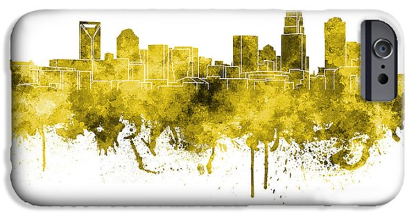 Charlotte iPhone Cases - Charlotte skyline in pink watercolor on white background iPhone Case by Pablo Romero