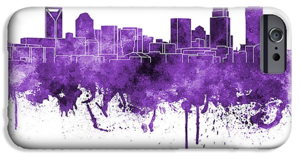 Charlotte Paintings iPhone Cases - Charlotte skyline in purple watercolor on white background iPhone Case by Pablo Romero