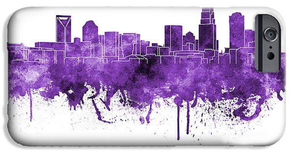 Charlotte iPhone Cases - Charlotte skyline in purple watercolor on white background iPhone Case by Pablo Romero