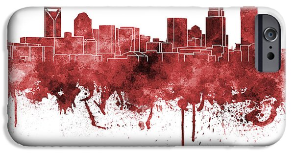 Charlotte Paintings iPhone Cases - Charlotte skyline in red watercolor on white background iPhone Case by Pablo Romero