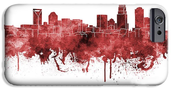 Charlotte iPhone Cases - Charlotte skyline in red watercolor on white background iPhone Case by Pablo Romero