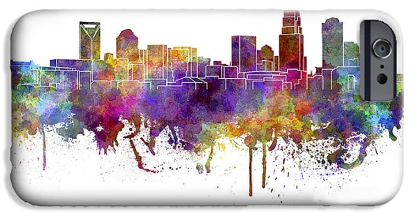 Charlotte iPhone Cases - Charlotte skyline in watercolor on white background iPhone Case by Pablo Romero