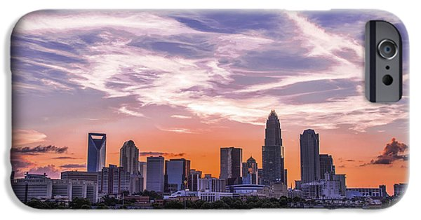 Charlotte iPhone Cases - Charlotte Sunset Streaks iPhone Case by Paul Scolieri