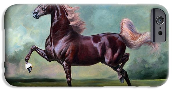 American Saddlebred Art iPhone Cases - Charmed and Bewitched iPhone Case by Jeanne Newton Schoborg