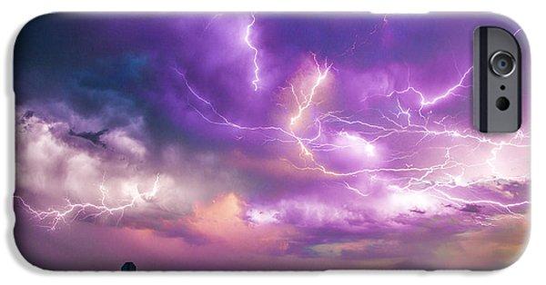 Best Sellers -  - Nebraska iPhone Cases - Chasing Nebraska Lightning 056 iPhone Case by NebraskaSC