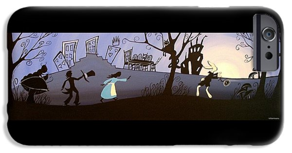 Mad Hatter iPhone Cases - Chasing The Rabbit iPhone Case by Debbie Criswell