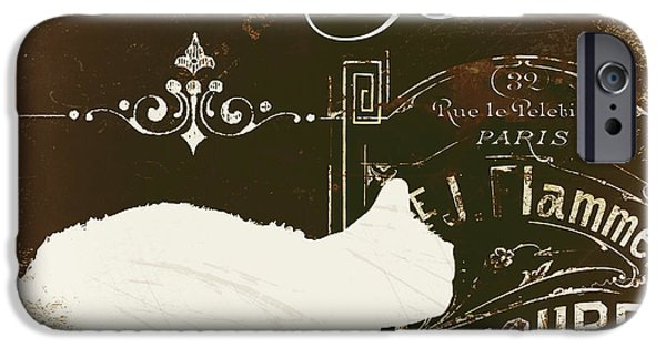 White Cat Art iPhone Cases - Chat Blanc iPhone Case by Mindy Sommers