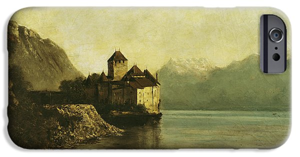 Locations iPhone Cases - Chateau de Chillon iPhone Case by Gustave Courbet