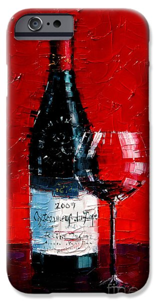 Table Wine iPhone Cases - Chateauneuf-du-pape iPhone Case by Mona Edulesco