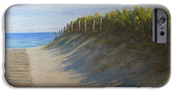 Beach Landscape Pastels iPhone Cases - Chatham Beachwalk iPhone Case by Tanja Ware
