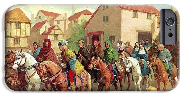 Pilgrims iPhone Cases - Chaucers Pilgrims iPhone Case by van der Syde