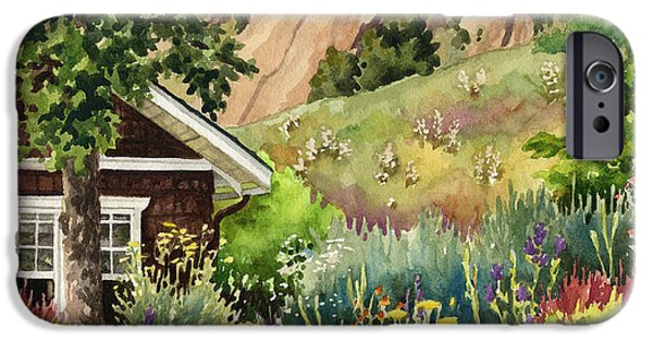 Garden Scene Paintings iPhone Cases - Chautauqua Cottage iPhone Case by Anne Gifford